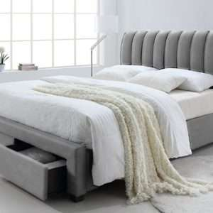 lit bedoni en skay gris avec tiroirs de rangement