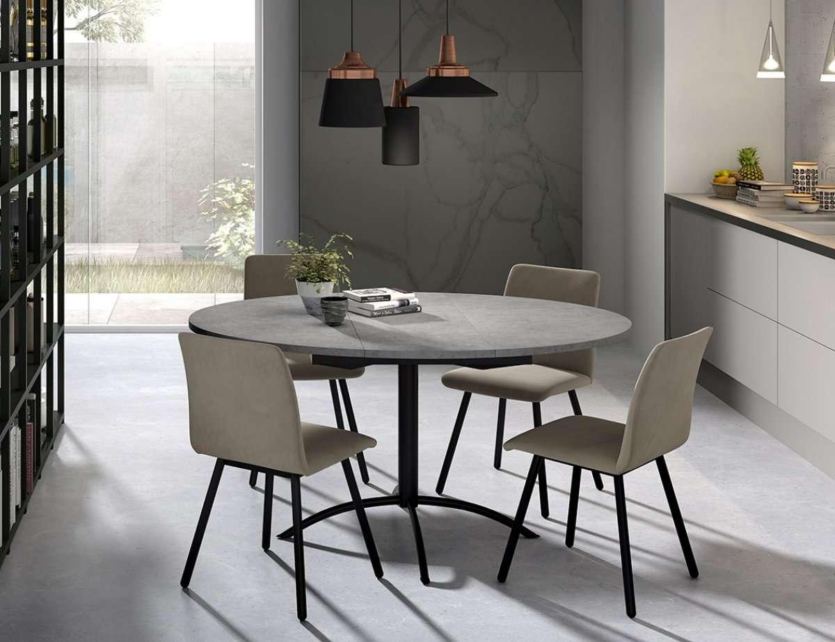 Table De Cuisine Ronde Avec Une Allonge Centrale Laser Et Chaise