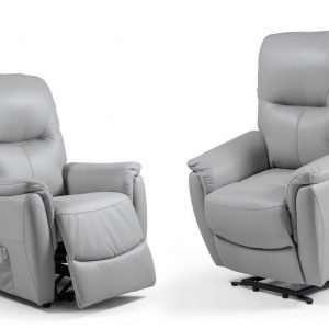 fauteuil relax Robert en semi cuir gris